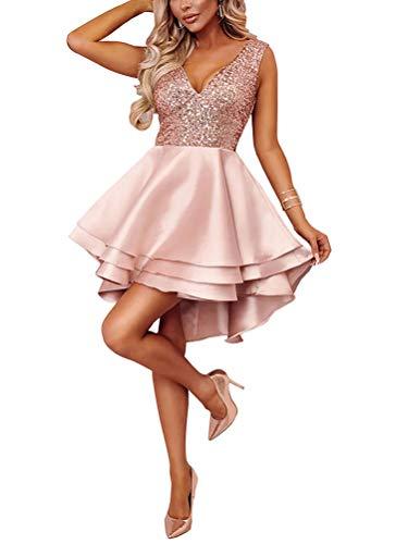 Minetom Damen Festlich Hochzeit Kleider Glänzend Pailletten V-Ausschnitt Ärmellos Prinzessin Tutu Cocktailkleid Partykleid Abendkleid Rosa DE 42 -