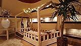 Oliveo Mon lit cabane, Lit pour Enfants,lit d'enfant,lit cabane avec barrière, 5 Jours Livraison (120 x 60 cm, Barrière: avec)