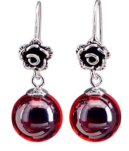 NicoWerk Damen Silber Ohrringe Granat aus 925 Sterling Silber Kugel Rund Rose mit Stein Rot SOR238