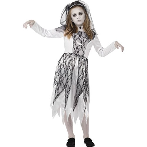Amakando vestito sposa dello spirito per bambine - l, 10 - 12 anni, 145 - 158 cm | costume di halloween da sposa | travestimento da fantasma | camuffamento zombie ragazze