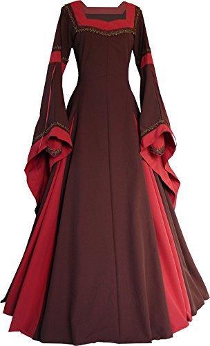 Dornbluth Damen Mittelalterkleid Guinevere Made in Germany (Braun-Ziegelrot, - Guinevere Kostüm Für Erwachsene