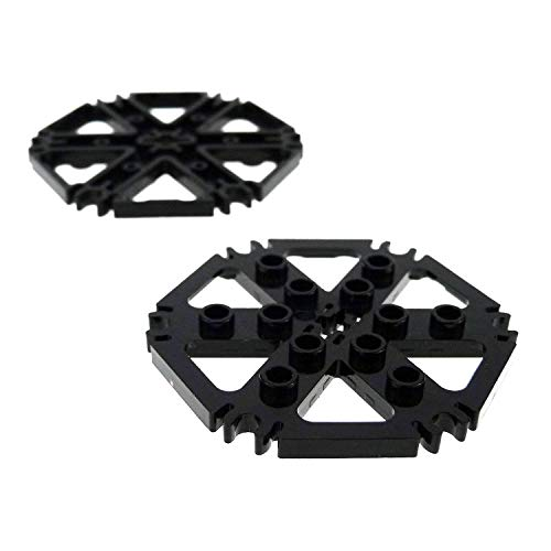 LEGO Bausteine gebraucht 2 x Technic Rotor Board Black CA 7 x 7 with 6 Clips for Shovels for helicopter Water Cylinder Harvester Game 7636 76054 64566