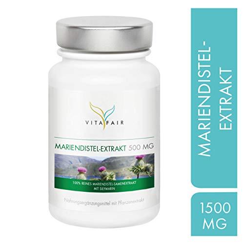 Mariendistel Extrakt - 1500mg pro Tagesdosis - 90 Kapseln - 80% Silymarin = 1200mg - Hochdosiert - Vegan - Ohne Magnesiumstearat - Made in Germany