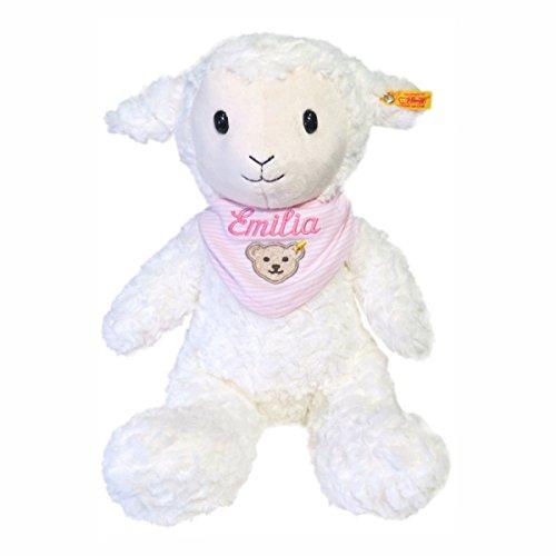 Steiff Fuzzy Lamm mit Wunschnamen auf Steiff Collection Halstuch rosa bestickt 38 cm 073434 + 6600 Soft Cuddly Friends