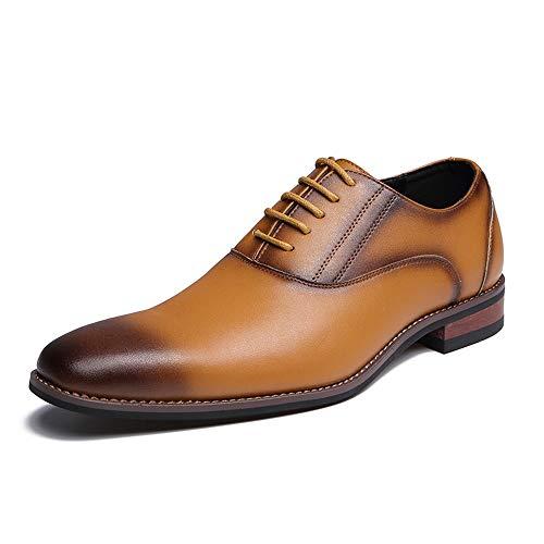 Jiuyue-shoes, 2018 business oxford da uomo comode scarpe basse formali retro lucido scarpe uomo pelle (color : marrone, dimensione : 42 eu)