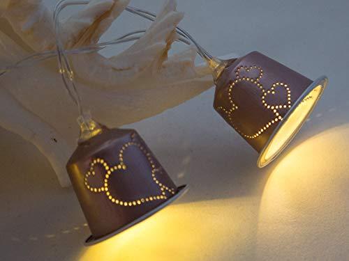 Upcycling Lichterkette Herzen aus Kaffeekapseln