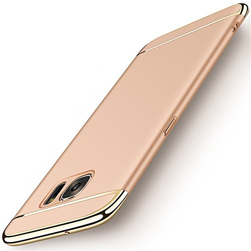 ge Hülle, 3 in 1 Ultra-thin 360 Anti-Scratch Shockproof Hard PC Skin Smooth Case Cover with Electroplate Bumper für Samsung Galaxy S7 Edge (Samsung Galaxy S7 Edge, Gold) (Gold Frames Bulk)