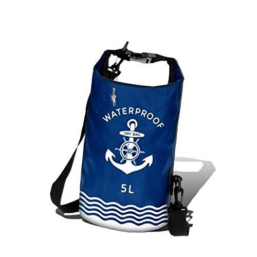 5l Anhänger (Robin Ruth Dry Bag Packsack wasserdicht 5 Liter blau weiß Seesack Schultergurt inkl. Feeanhänger ORG6001B)