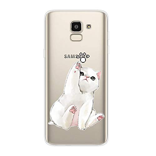 Herbests Kompatibel mit Samsung Galaxy J6 2018 Hülle Transparent mit Muster Motiv Crystal TPU Silikon Handyhülle Weich Durchsichtige Schutzhülle Handytasche Softcase Backcover,Weiß Katze