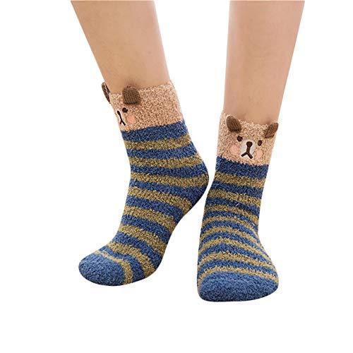 Zolimx Unisex Socken-Tier-Socken-Winter-warme Flauschige Bett-Schlaf-Weihnachtssocken