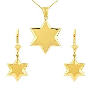 14 Karat Solid Gelbgold Stern Damen Anhänger Halskette Damen & Kinder Ohrringe Set (Kommt mit eine 45 cm kette)