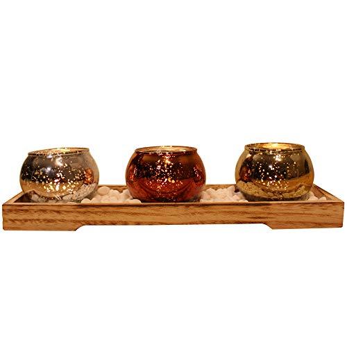 dszapaci Teelichthalter-Set auf Holz-Tablett mit 3 Windlichtern Weihnachten Tischdeko Landhausstil Wohnzimmer-Tisch