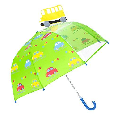 Kinder Regenschirm, Rainbrace Kinderschirm regnerischen Tag für Jungen und Mädchen mit Sichtfenster Panel, Auto und Bus, grün