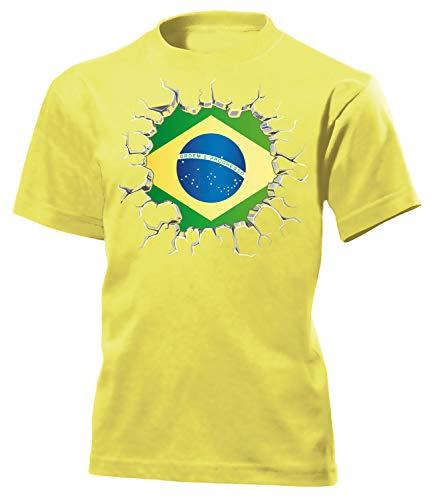Brasilien Brazil Brasil Fan t Shirt Artikel 5671 Fuss Ball Kinder Kids Jungen Mädchen Unisex WM 2022 2026 Trikot Look Flagge Fahne Team Gaucho 164