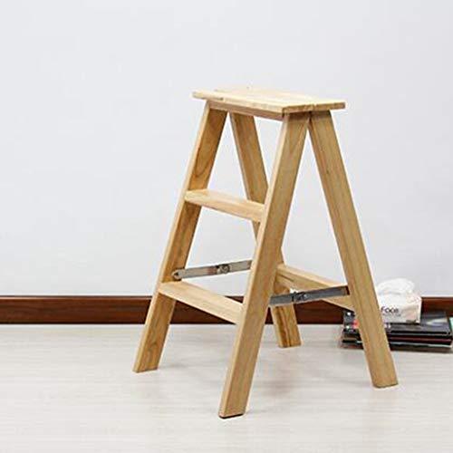 XHHWZB Tritthocker-Haushalts-Treppenstuhl-Trittbrett-Klappleiter Verbreitertes Multifunktions-Regal Hochwertiger Hocker aus Gummi 2 Farben, Höhe 71 cm Klappleiter-Stuhl (Farbe : Holzfarbe)
