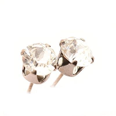 pewterhooter Black rhodium stud earrings made with sparkling Diamond White crystal from SWAROVSKI. London box.