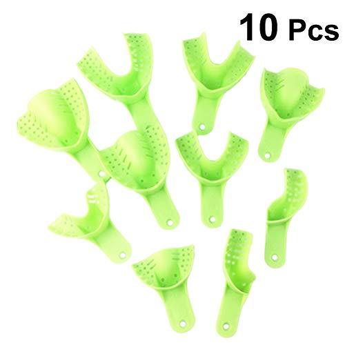 SUPVOX Abformlöffel Dental Kunststoff Einweg U Form Zähne Halter Zahnmedizinischer Abdruck Behälter 10 Stück (Grün)