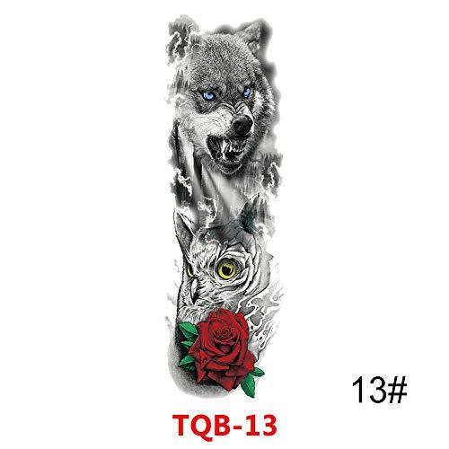 BRT Großer Arm Sleeve Tattoo Waterproof Temporary Tattoo Sticker Skull Rose Lotus Women Girl Full Flower Body Art Tatoo 13