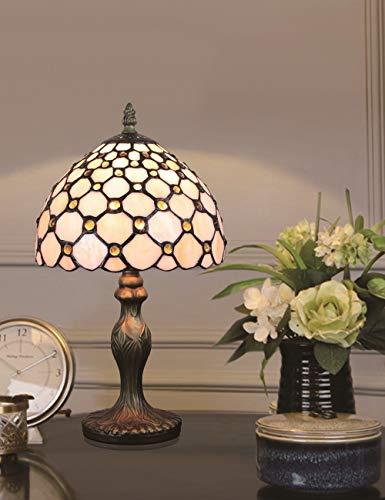 8-Zoll europäischen Retro Glasmalerei White Pearl Serie Tischlampe Nachttischlampe Schreibtischlampe