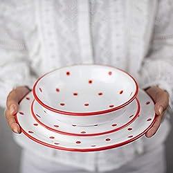 City to Cottage Juego de vajilla de cerámica, 12 Piezas, diseño de Lunares Blancos y Rojos, para 4 Platos de Cena, Platos Laterales, Cuencos, Regalo de inauguración de la casa