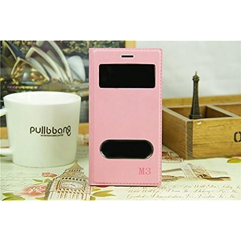 Casefashion® Funda de Piel con Soporte Ventana para Xiaomi Mi 3 Carcasa Protectora Case Cover PU Cuero (Rosado