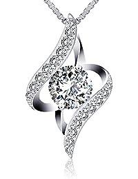 """J.Rosée Collier fantaisie en argent 925 """"Gardien de l'amour"""". Collier femme/fille, Diamants braillants entourés, chaîne élégante. Le meilleur choix pour vous ou comme un cadeau"""