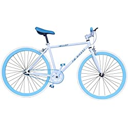 Helliot Bikes Fixie Soho H02 - Bicicleta urbana, color blanco / azul, talla única