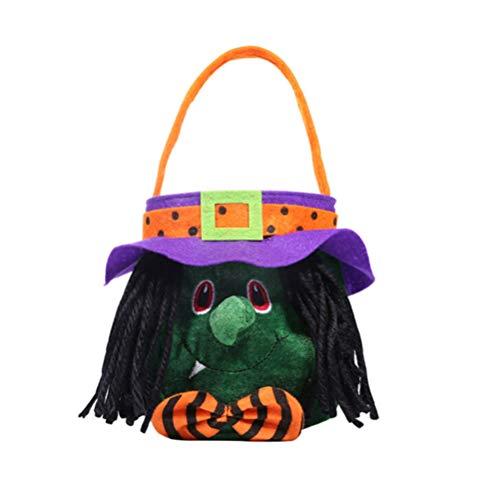 Flybloom Glückliche Halloween Einkaufstasche Hexe Druckt Süßigkeits Tasche Plätzchen Taschen Speicher Handtaschen Partei Geschenk Tasche (Taschen Glücklichen Halloween)