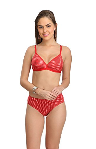 Selfcare Deepneck Padded Polka Dot Bra and Bikni Panty Set