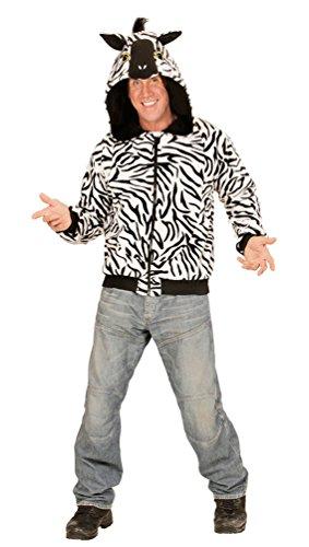 Karneval-Klamotten Zebra Kostüm Herren Zebra Jacke Herren mit Kapuze mit Ohren Tier-Kostüm Karneval Herren-Kostüm Einheitsgröße