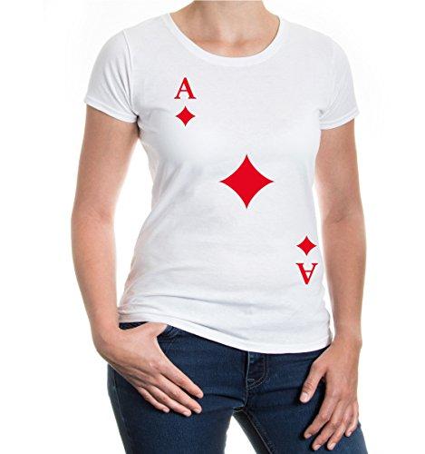 buXsbaum® Damen Kurzarm Girlie T-Shirt bedruckt Ass-Karte-Karo | Spielkarte Kostüm Kartenspiel | S white-red - Ass Karte Kostüm