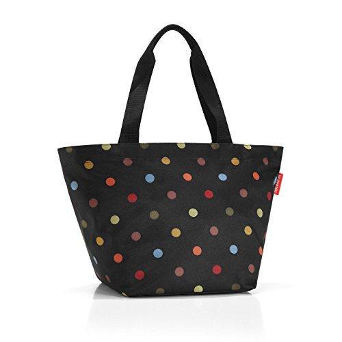 Reisenthel shopper m, borsa per la spesa, per lo shopping, dots/nero a pois colorati, zs7009