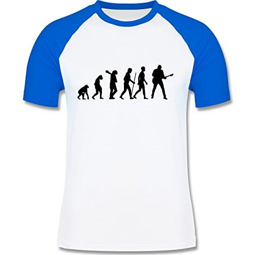 Evolution - Gitarrist Evolution - zweifarbiges Baseballshirt für Männer Weiß/Royalblau