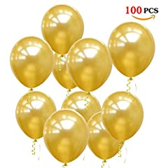 Idea Regalo - JOJOR Palloncini Dorati,100 Palloncini Oro Elio Perlati 12 Pollici per Festa, Compleanno, Matrimonio Anniversario Fidanzamento,Battesimo, Prima Comunione, Addio al Nubilato