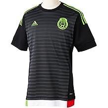 adidas para Hombre de Manga Corta Camiseta de México del Jugador-del Negro Top: