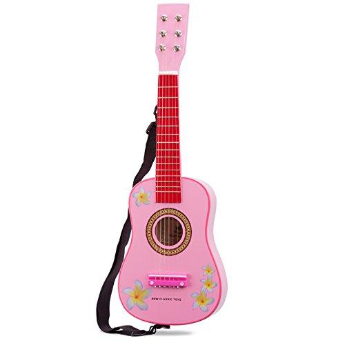 Unbekannt Mein erstes Instrument für Kinder ab 3 Jahren Pinke Gitarre aus hochwertigem Holz • Spielzeuggitarre Musik Ukulele Spielzeug