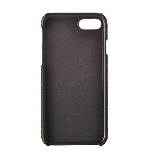 mxnet per iPhone 7Texture Stretta Texture PU Pelle superficie protettiva caso posteriore custodia telefono cellulare Phone Case Cover caffè