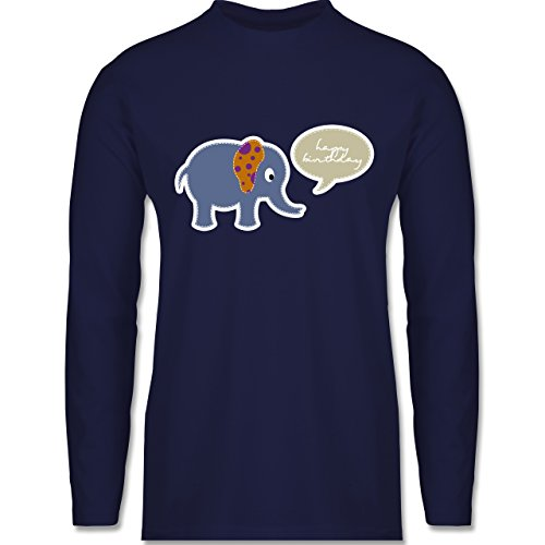 Shirtracer Geburtstag - Elefant Happy Birthday - Herren Langarmshirt Navy Blau