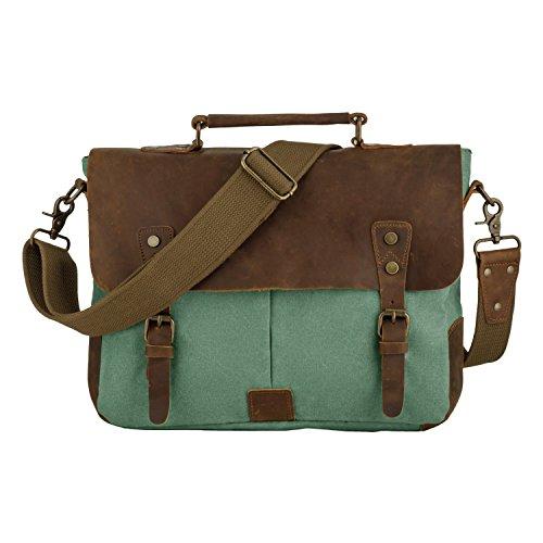 Vintage Schultaschen, P.KU.VDSL Canvas Umhängetasche Schulter Messenger Bag Laptoptasche Notebooktasche Aktentasche Laptop Tasche (B - Coral Green) (Laptop-tasche Aktentasche Green)