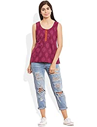 Very Me Women's Designer Raspberry Pure Cotton Printed Short Top