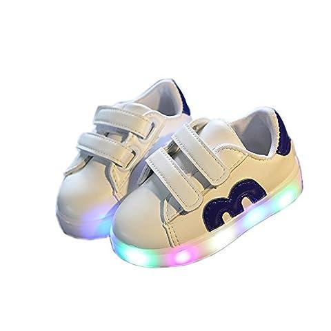 Chaussures Enfant, Chickwin LED Chaussures Étoiles Lumineuse Bébé Enfant Unisexe Confortable Sneakers Clignotant LED Chaussures (21 / Mesure à l'intérieur (cm) 13.5, Bleu)