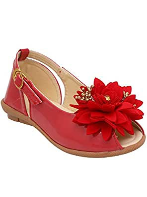 D'chica Spring Party Flower Applique Ballerinas for Girls Red