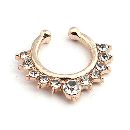 vcmart 1 Faux Fake Gemmed Rand Septum Nase Ringe Ohrstecker Body Jewelry von Vcmart