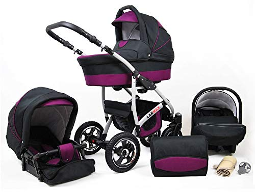 Lux4Kids 3 in 1 Combi pram Pushchair Stroller Complete Set with car seat Isofix Larmax Black & Purple 4in1 car seat +Isofix Lux4Kids Lux4Kids 4in1 or 3in1 or 2in1 pushchair. You have the choice whether you need a car seat (baby seat certified according to ECE R 44/04 or not). Of course, the Pram is stabil, safe and durable Certificate EN 1888:2004 Of course, the baby Basket has a rocking function when it is removed from the pram. The push handle adapts to your size and fits for everyone 1