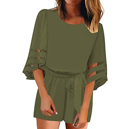 NYD Damen Kleider Sommer O Neck Mesh Panel Bluse 3/4 Bell Sleeve Lose Minikleid mit ()