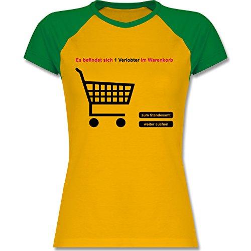 JGA Junggesellinnenabschied - Verlobter im Warenkorb - zweifarbiges Baseballshirt / Raglan T-Shirt für Damen Gelb/Grün