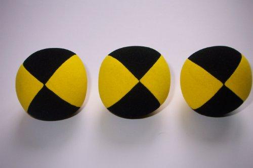 Jonglierball 3 Set Beanbag Superior (Velours) 67mm, schwarz-gelb