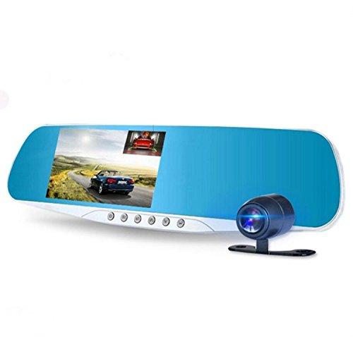 Auto-Schlag-Nocken-Nachtsicht-Doppelobjektiv 4,3 Zoll HD 1080P Rückspiegel-doppelte Aufnahme-Auto-Schlag-Nocken Eingebauter G-Sensor Bewegungserkennungs-Schleifen-Recorder (TF-Karte ist NICHT eingeschlossen)