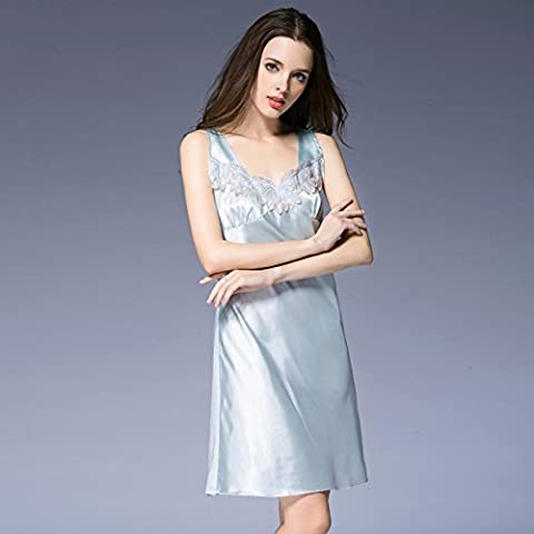Le donne sexy di seta pizzo collo v senza maniche di seta camicie da notte camicia da notte allentato Taglia camicia da notte solid home servizi,blu zaffiro,XL(Busto-36a)