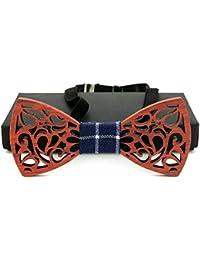 Corbatas de lazo pre-atadas de los hombres Diseño hueco hecho a mano de  madera creativa pajarita con regalo… a34f58c9c9d